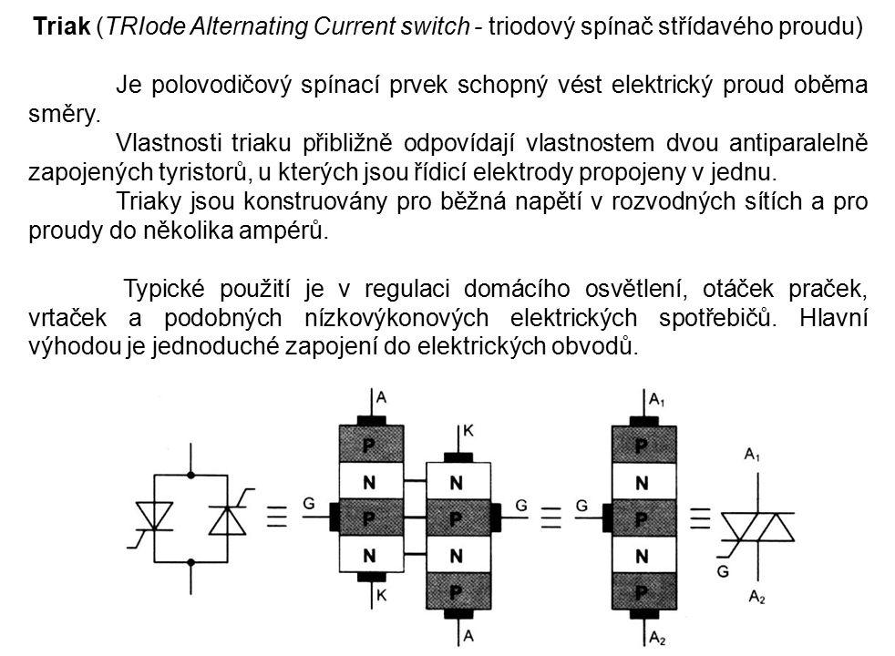 Triak (TRIode Alternating Current switch - triodový spínač střídavého proudu)