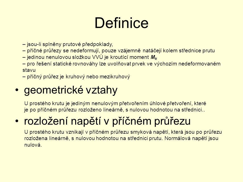 Definice geometrické vztahy rozložení napětí v příčném průřezu