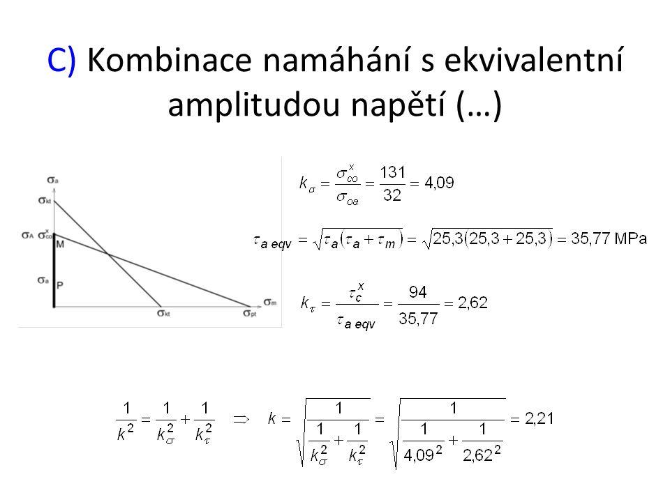 C) Kombinace namáhání s ekvivalentní amplitudou napětí (…)