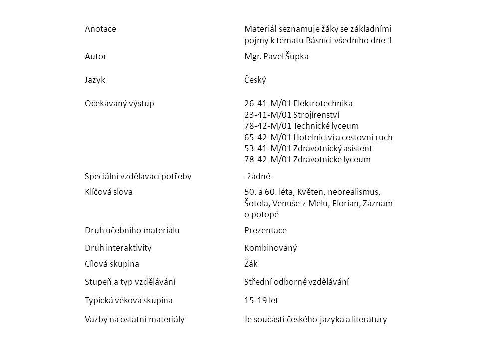 Anotace Materiál seznamuje žáky se základními pojmy k tématu Básníci všedního dne 1. Autor. Mgr. Pavel Šupka.