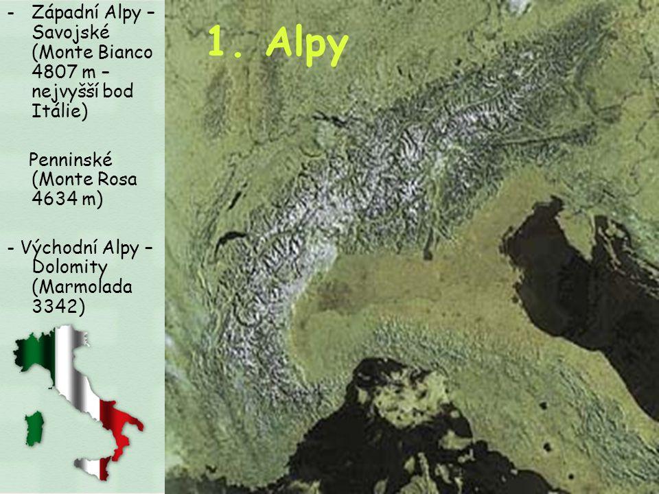 Západní Alpy – Savojské (Monte Bianco 4807 m – nejvyšší bod Itálie)
