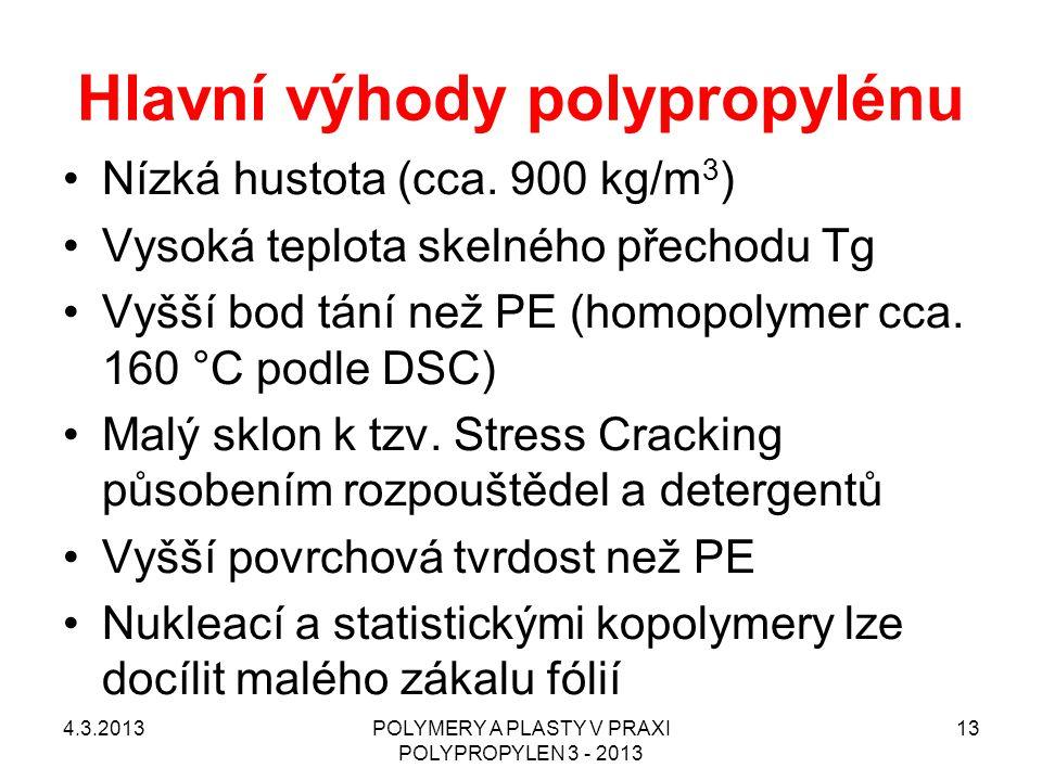 Hlavní výhody polypropylénu