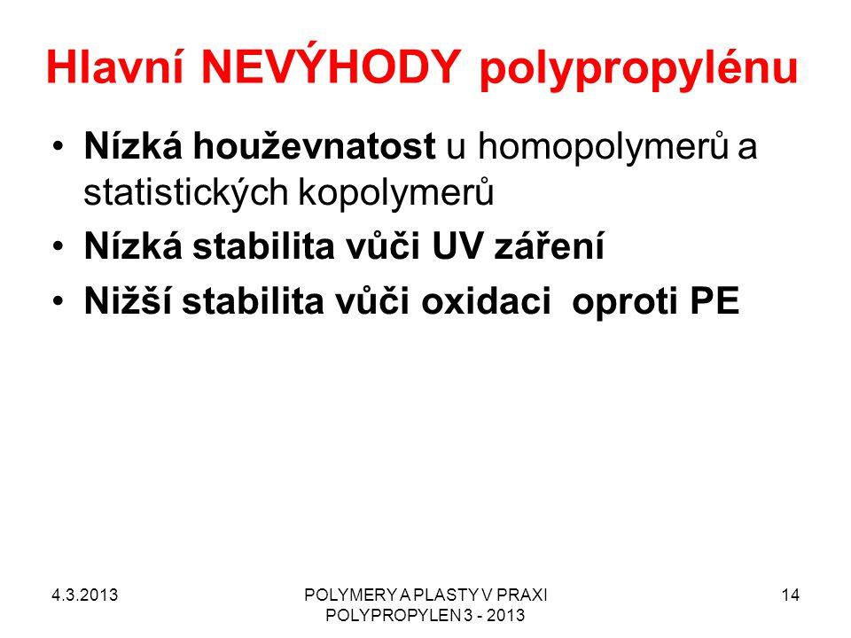 Hlavní NEVÝHODY polypropylénu