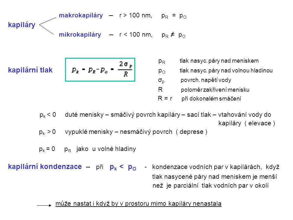 makrokapiláry – r > 100 nm, pR = pO kapiláry