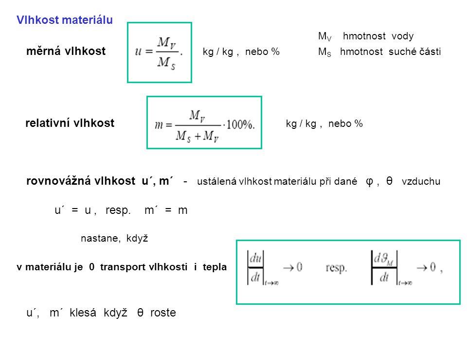 měrná vlhkost kg / kg , nebo % MS hmotnost suché části