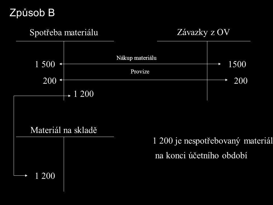 Způsob B Spotřeba materiálu Závazky z OV 1 500 200 1500 200 1 200