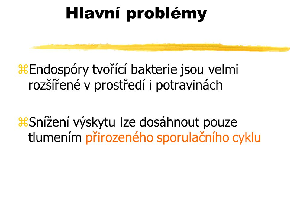 Hlavní problémy Endospóry tvořící bakterie jsou velmi rozšířené v prostředí i potravinách.