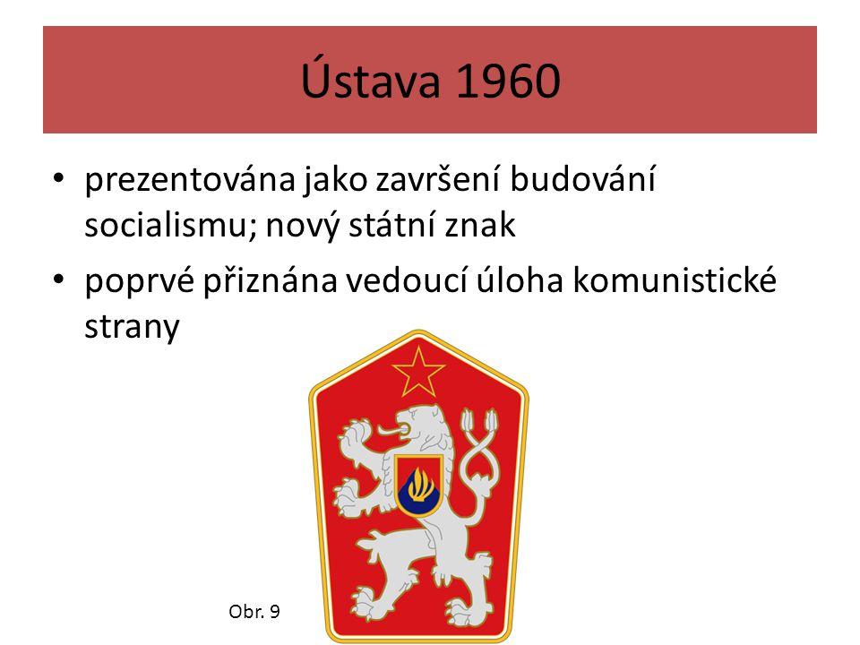 Ústava 1960 prezentována jako završení budování socialismu; nový státní znak. poprvé přiznána vedoucí úloha komunistické strany.