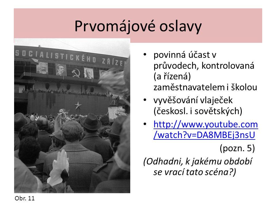 Prvomájové oslavy povinná účast v průvodech, kontrolovaná (a řízená) zaměstnavatelem i školou. vyvěšování vlaječek (českosl. i sovětských)