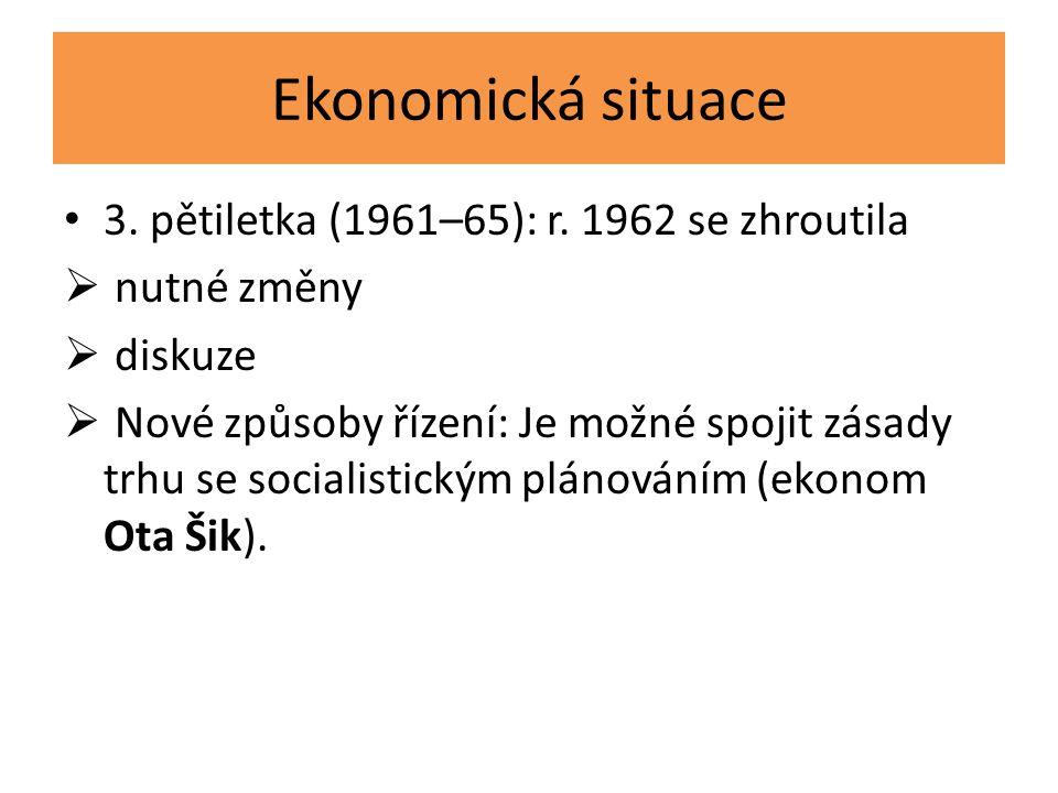 Ekonomická situace 3. pětiletka (1961–65): r. 1962 se zhroutila