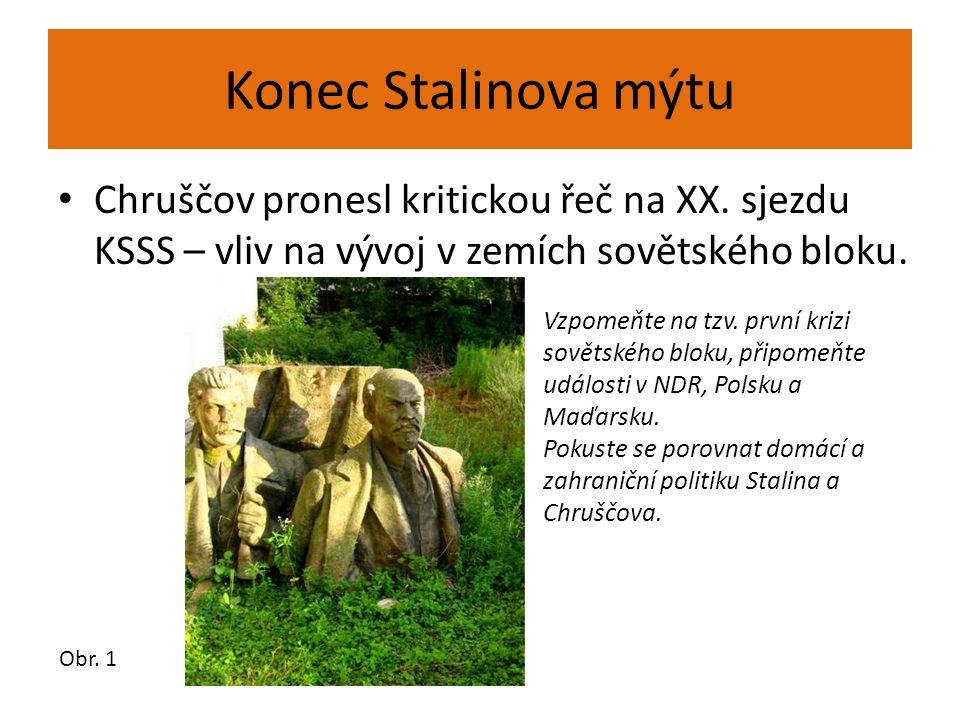 Konec Stalinova mýtu Chruščov pronesl kritickou řeč na XX. sjezdu KSSS – vliv na vývoj v zemích sovětského bloku.