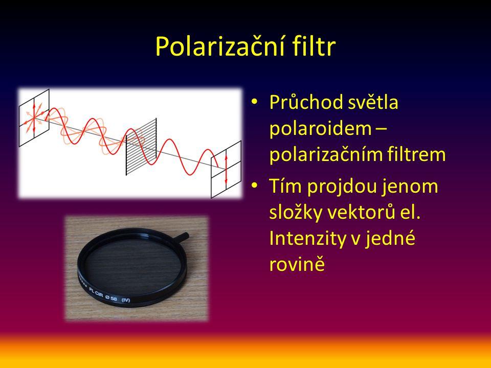 Polarizační filtr Průchod světla polaroidem – polarizačním filtrem