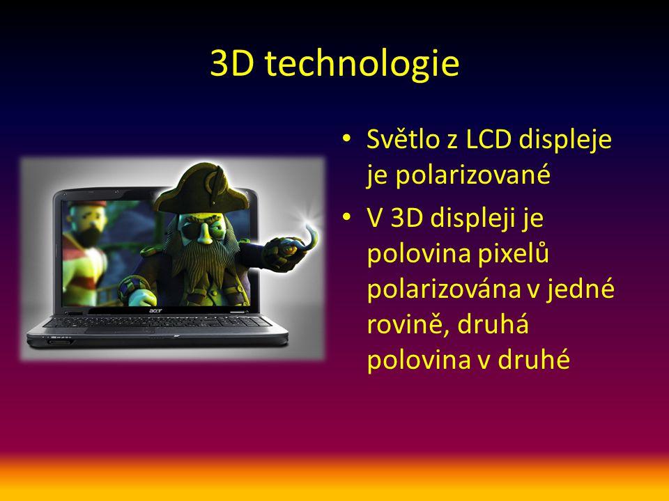 3D technologie Světlo z LCD displeje je polarizované