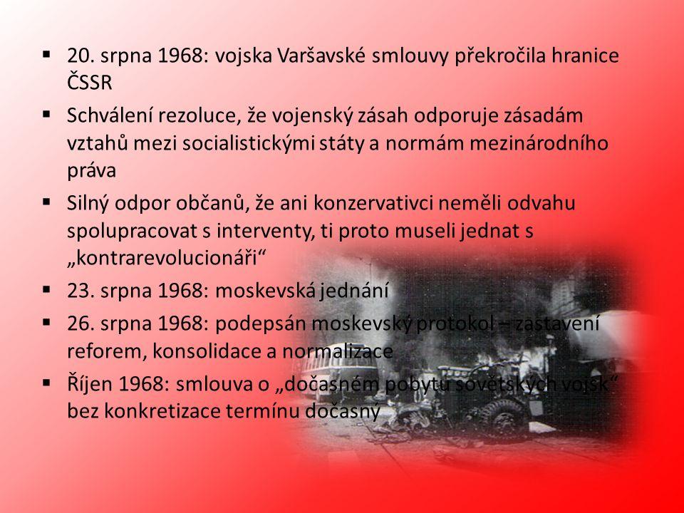 20. srpna 1968: vojska Varšavské smlouvy překročila hranice ČSSR