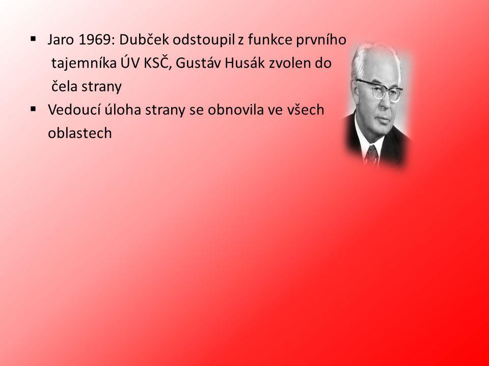 Jaro 1969: Dubček odstoupil z funkce prvního