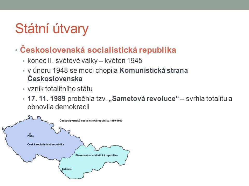 Státní útvary Československá socialistická republika