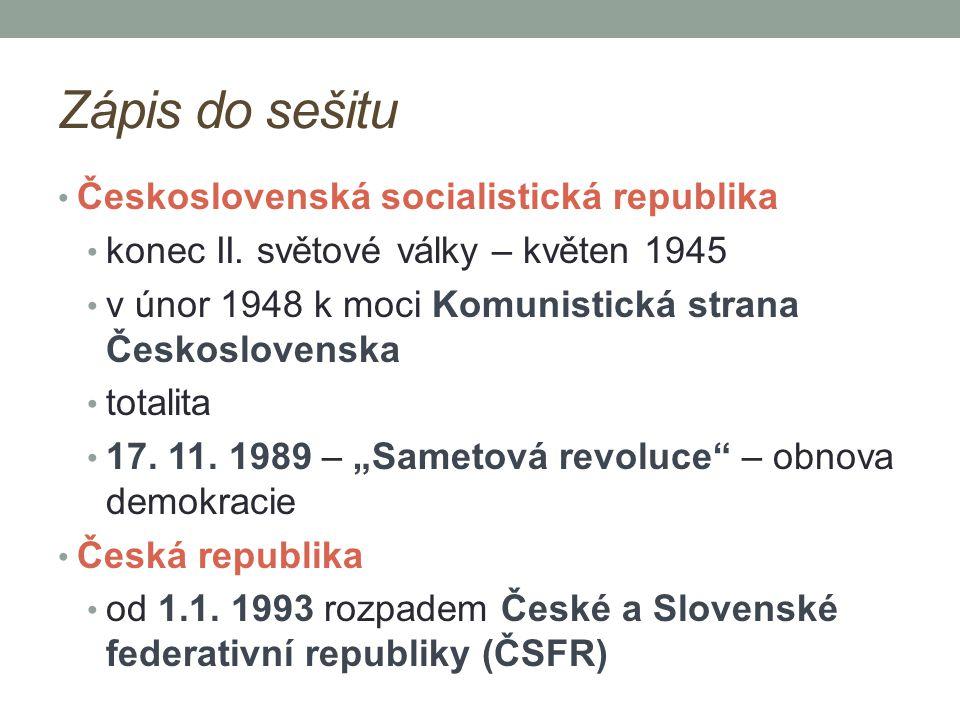 Zápis do sešitu Československá socialistická republika
