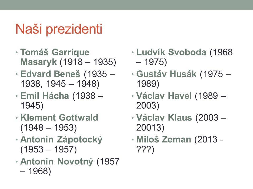Naši prezidenti Tomáš Garrique Masaryk (1918 – 1935)