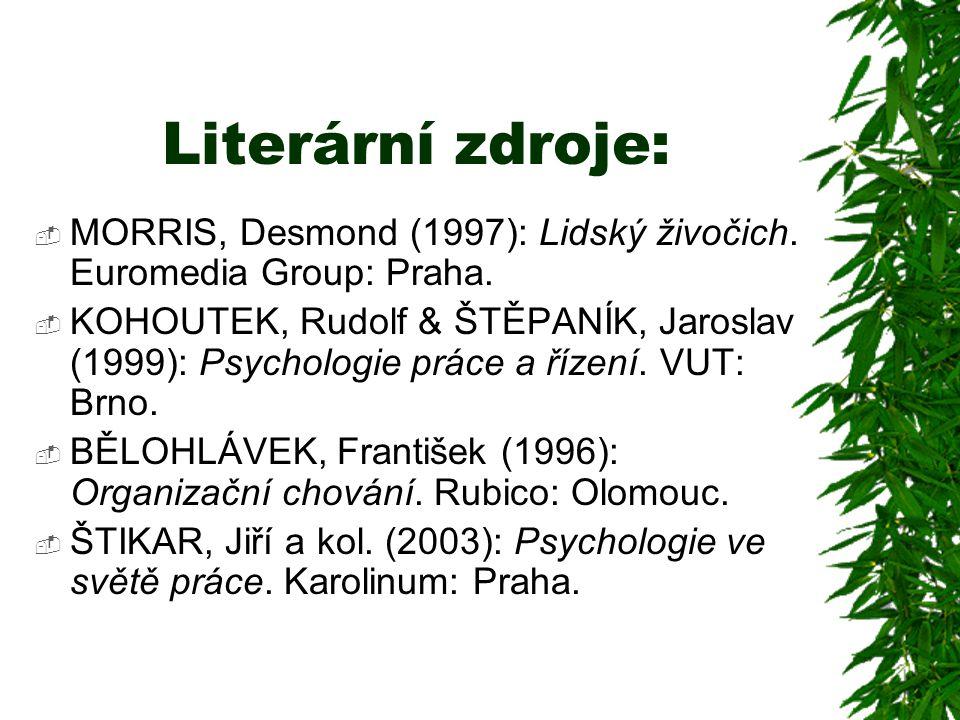 Literární zdroje: MORRIS, Desmond (1997): Lidský živočich. Euromedia Group: Praha.