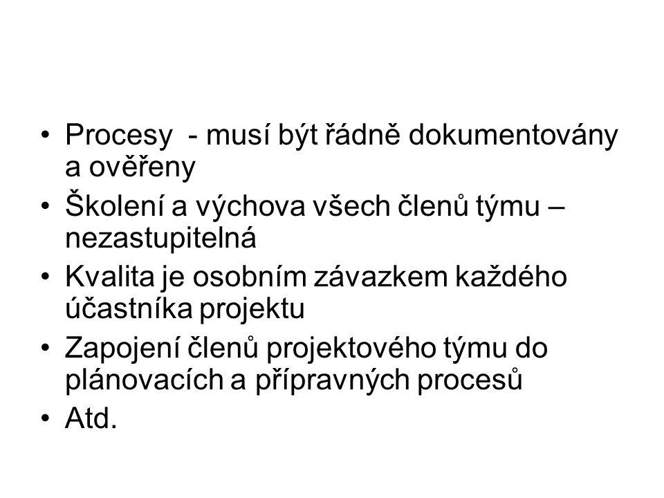 Procesy - musí být řádně dokumentovány a ověřeny