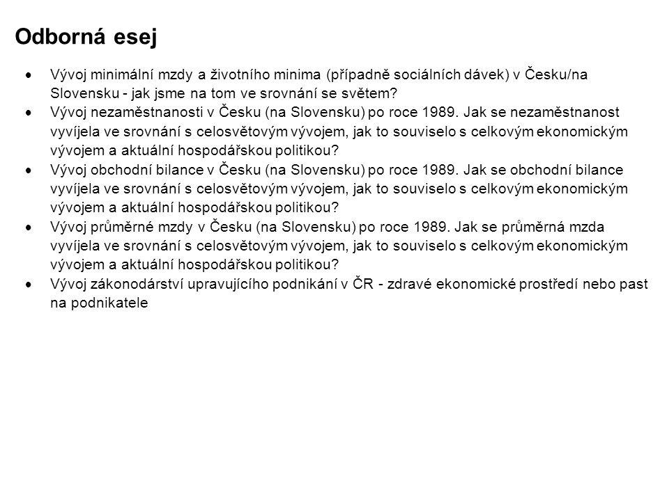 Odborná esej Vývoj minimální mzdy a životního minima (případně sociálních dávek) v Česku/na Slovensku - jak jsme na tom ve srovnání se světem