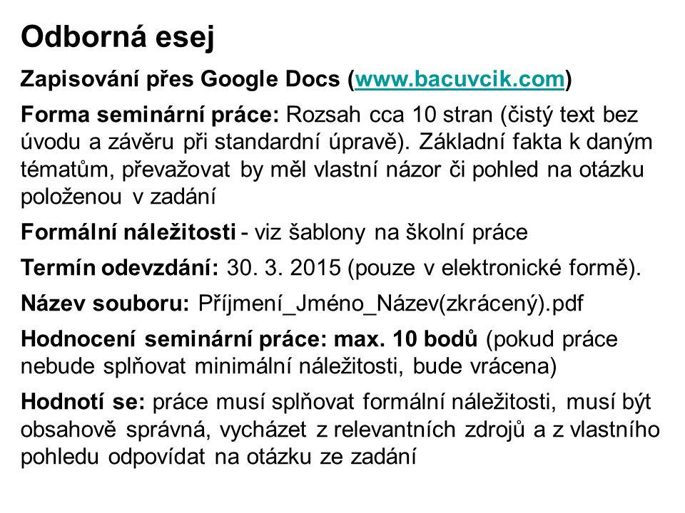 Odborná esej Zapisování přes Google Docs (www.bacuvcik.com)