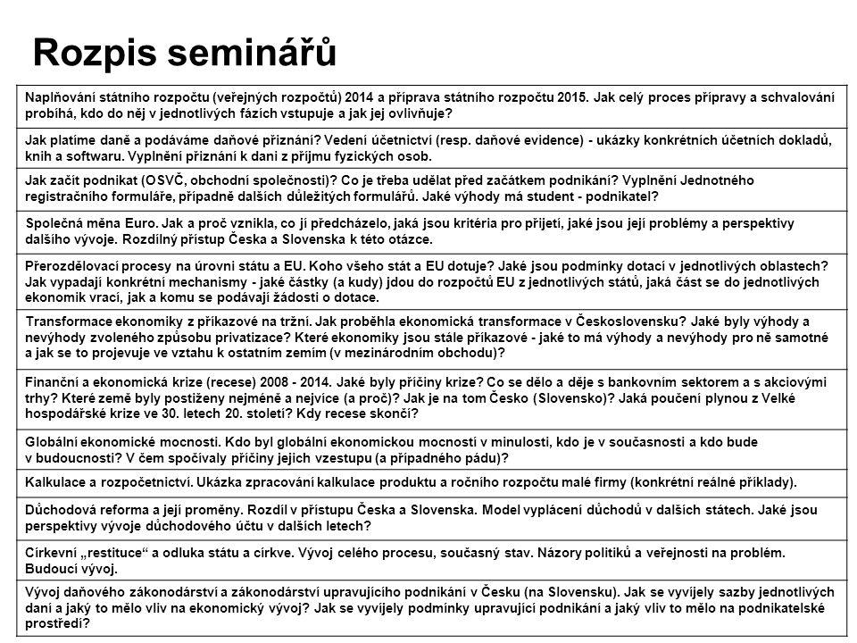 Rozpis seminářů