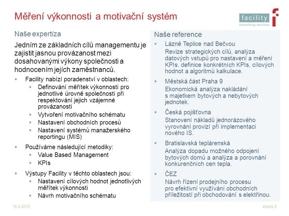 Měření výkonnosti a motivační systém