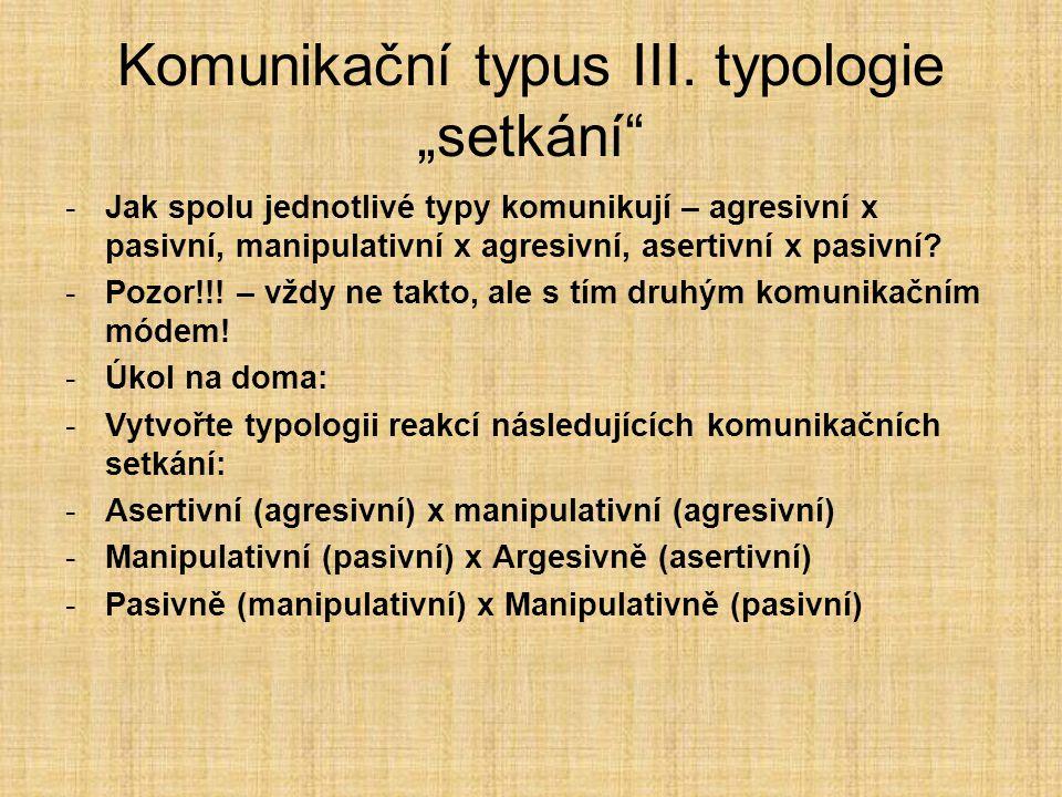 """Komunikační typus III. typologie """"setkání"""