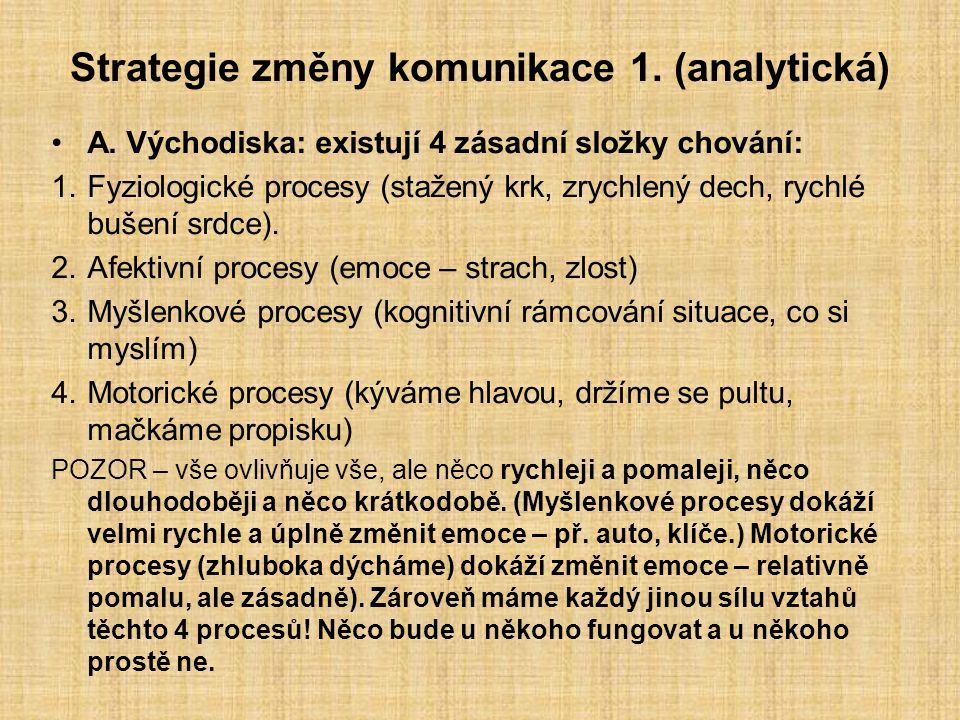 Strategie změny komunikace 1. (analytická)