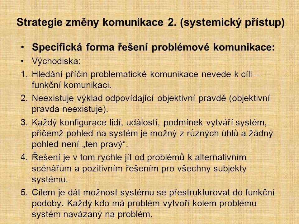 Strategie změny komunikace 2. (systemický přístup)