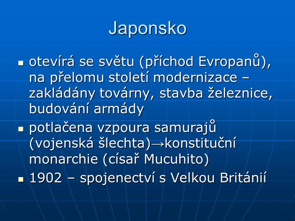 Japonsko otevírá se světu (příchod Evropanů), na přelomu století modernizace – zakládány továrny, stavba železnice, budování armády.