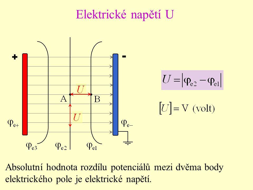 Elektrické napětí U + - Absolutní hodnota rozdílu potenciálů mezi dvěma body.