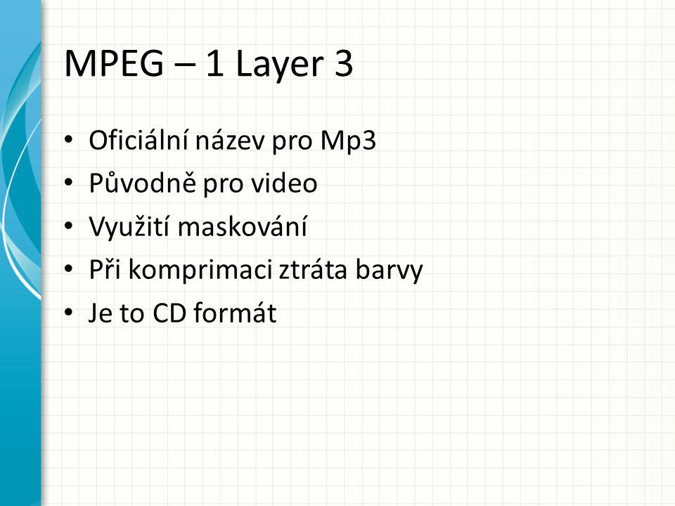 MPEG – 1 Layer 3 Oficiální název pro Mp3 Původně pro video