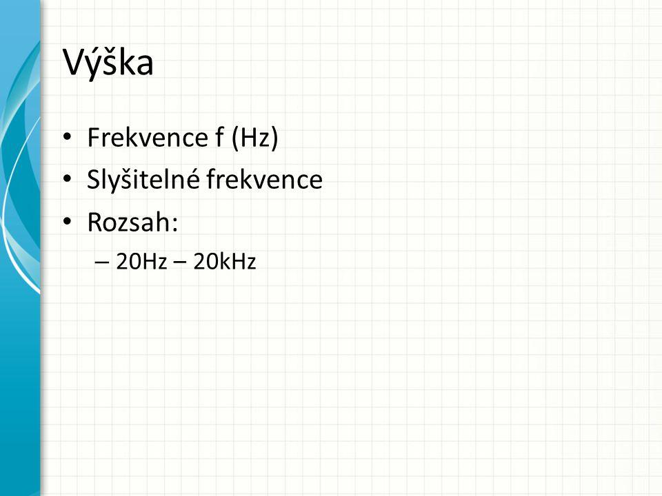 Výška Frekvence f (Hz) Slyšitelné frekvence Rozsah: 20Hz – 20kHz