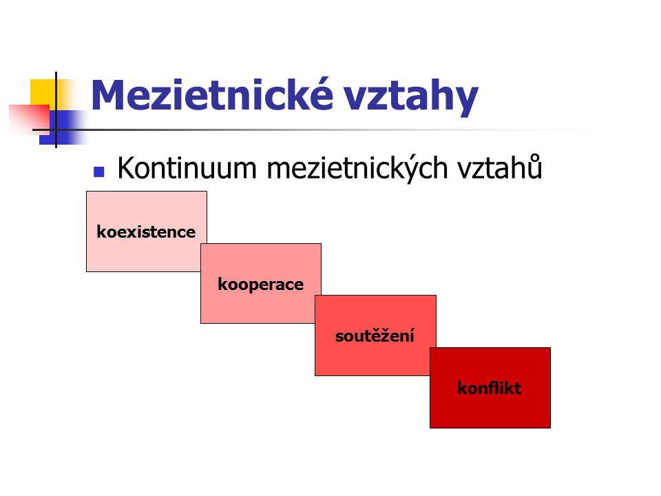 Mezietnické vztahy Kontinuum mezietnických vztahů koexistence