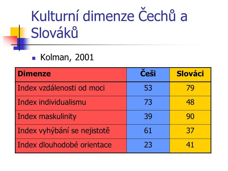 Kulturní dimenze Čechů a Slováků