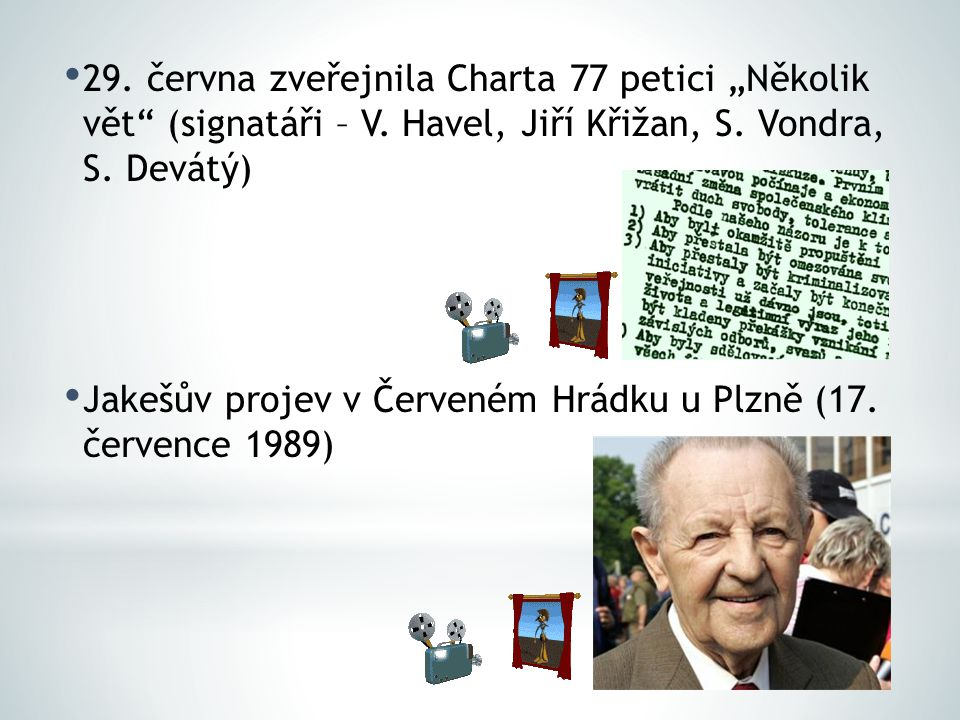 """29. června zveřejnila Charta 77 petici """"Několik vět (signatáři – V"""