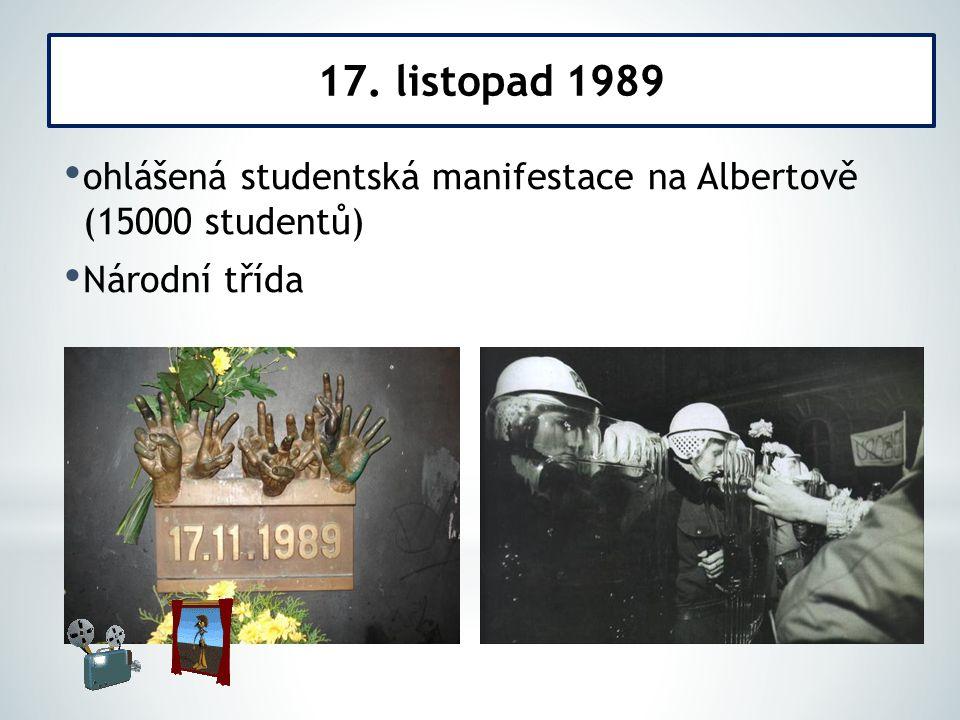 17. listopad 1989 ohlášená studentská manifestace na Albertově (15000 studentů) Národní třída