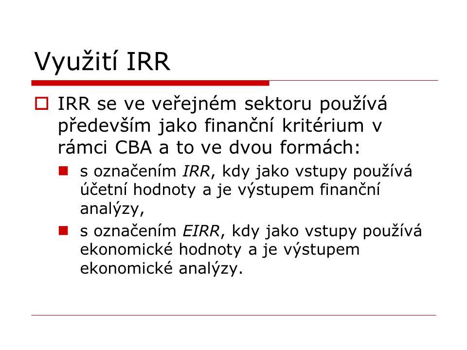 Využití IRR IRR se ve veřejném sektoru používá především jako finanční kritérium v rámci CBA a to ve dvou formách: