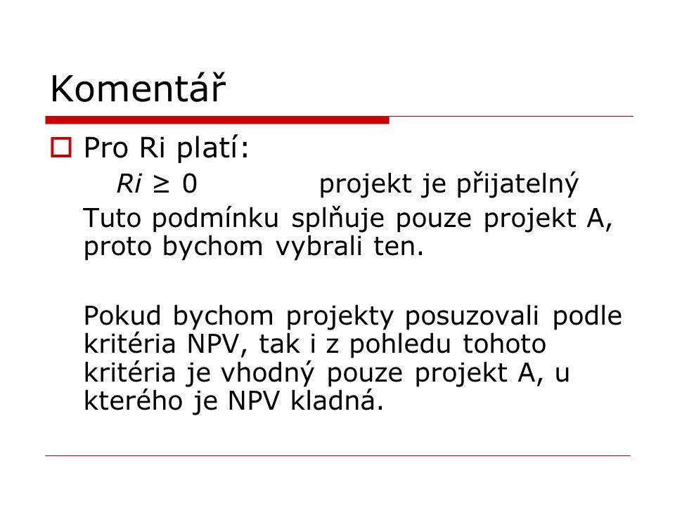 Komentář Pro Ri platí: Ri ≥ 0 projekt je přijatelný