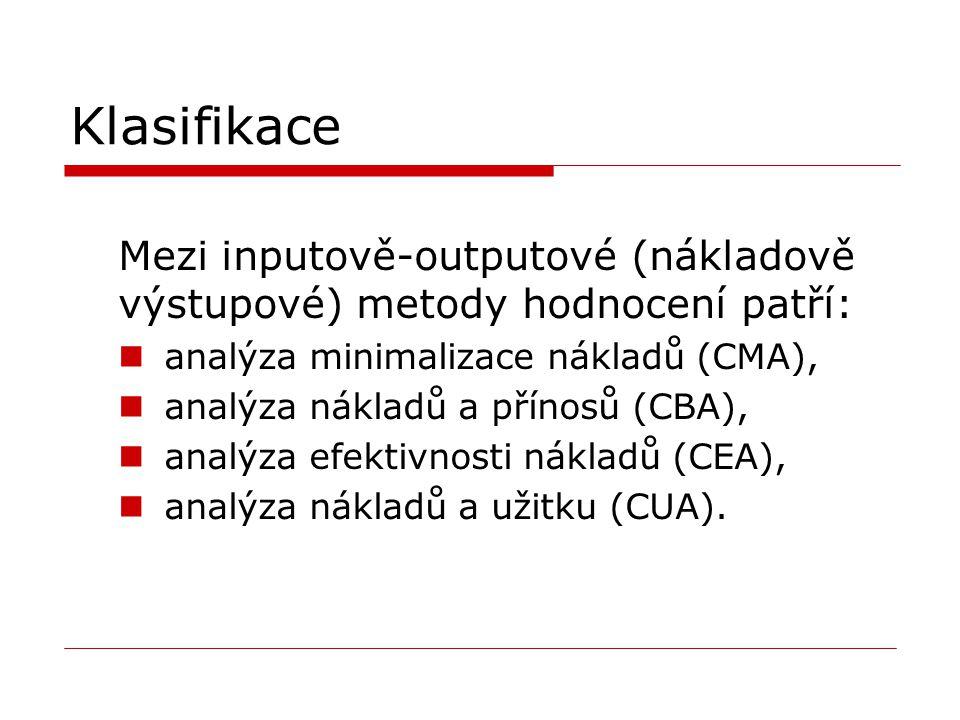 Klasifikace Mezi inputově-outputové (nákladově výstupové) metody hodnocení patří: analýza minimalizace nákladů (CMA),