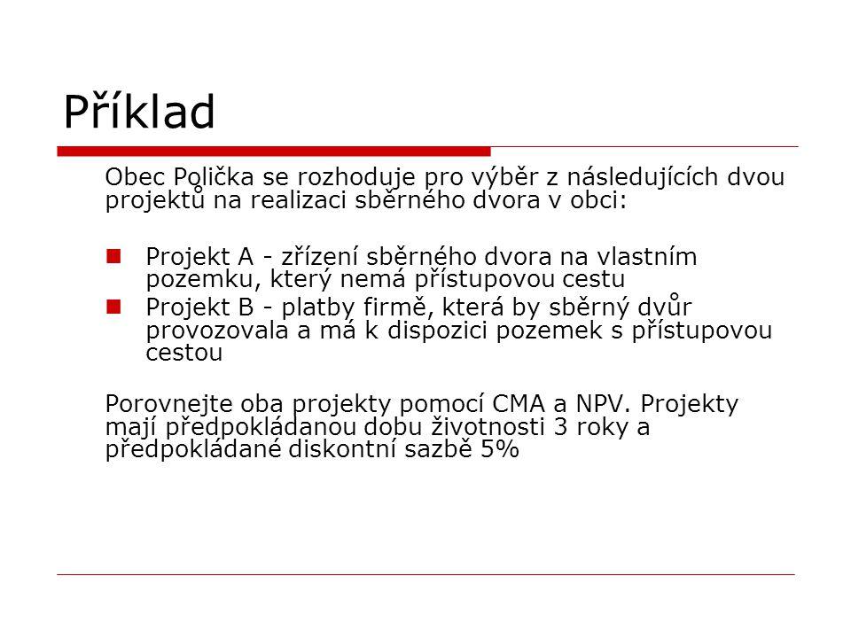 Příklad Obec Polička se rozhoduje pro výběr z následujících dvou projektů na realizaci sběrného dvora v obci: