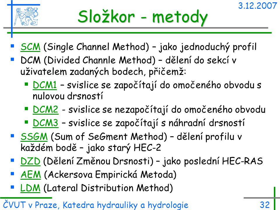 Složkor - metody SCM (Single Channel Method) – jako jednoduchý profil