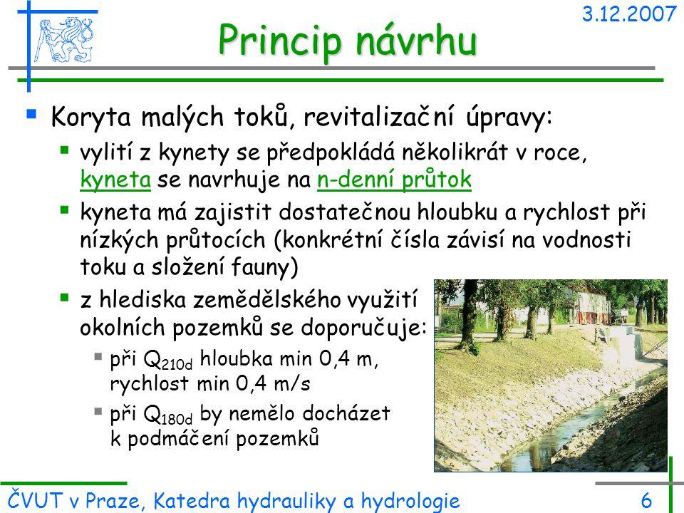 Princip návrhu Koryta malých toků, revitalizační úpravy: