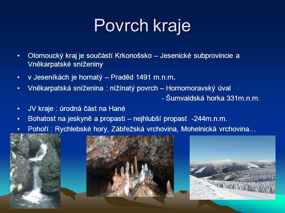 Povrch kraje Olomoucký kraj je součástí Krkonošsko – Jesenické subprovincie a Vněkarpatské sníženiny.