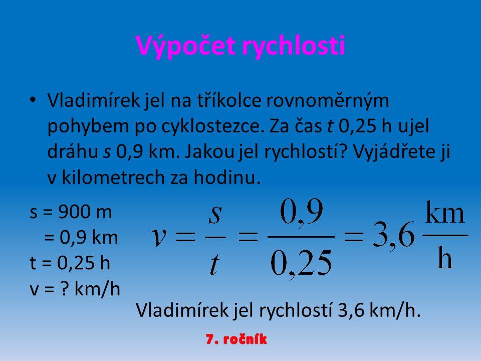 Výpočet rychlosti