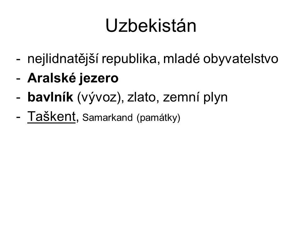 Uzbekistán nejlidnatější republika, mladé obyvatelstvo Aralské jezero