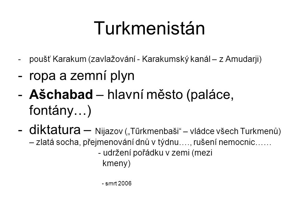 Turkmenistán ropa a zemní plyn