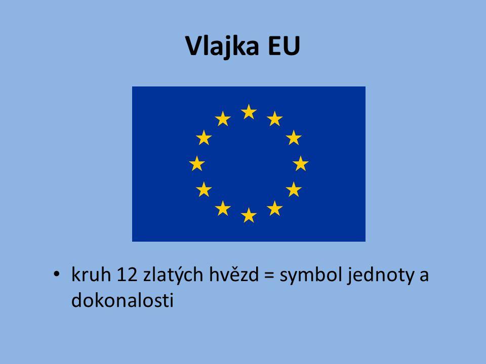 Vlajka EU kruh 12 zlatých hvězd = symbol jednoty a dokonalosti